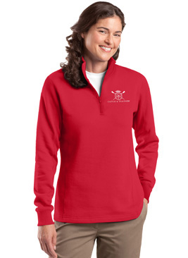 CatchAndFeather_LFLEECEQuarterZip_red