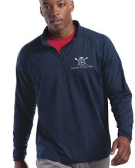 CatchandFeather_MensPerformanceHalfZip_Model_navy